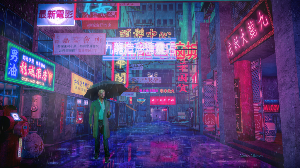 Aedan in the rain on a colorful street